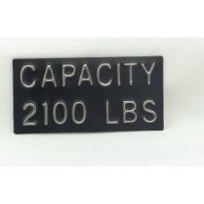 "Capacity Plate, 2100 lbs, 4"" x 2"""